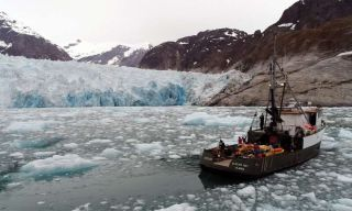This photo shows the fishing vessel used to make measurements of the glacier and the surrounding waters.