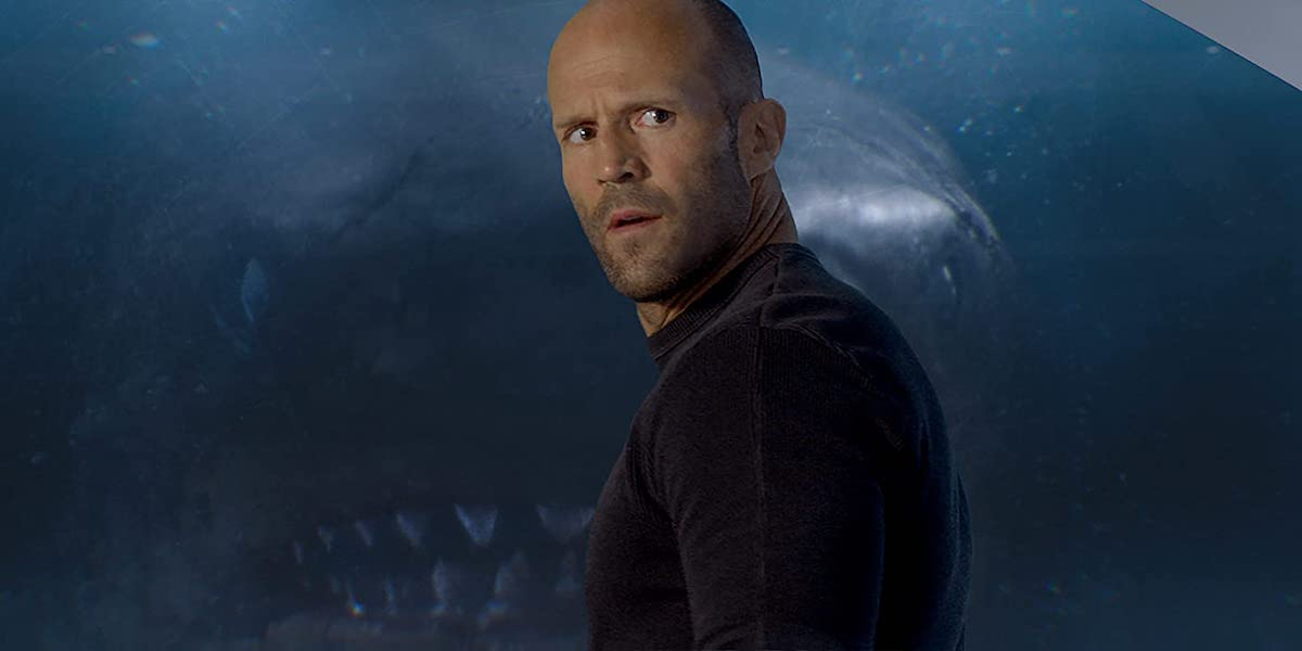 Jason Statham in The Meg with shark