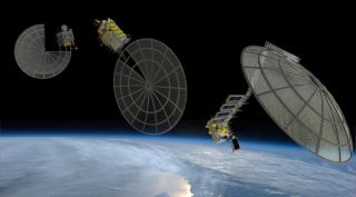 Artists' concepts of Made In Space Archinaut spacecraft 3D-printing satellite reflectors in space.