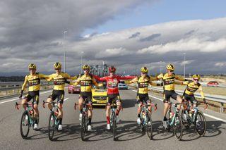 Jumbo Visma celebrate Primoz Roglic's victory in the 2020 Vuelta a Espana