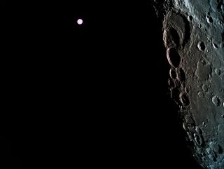 A view of the far side of the moon, with Earth in the background, captured by the Beresheet lander during its lunar orbital insertion on April 4, 2019.