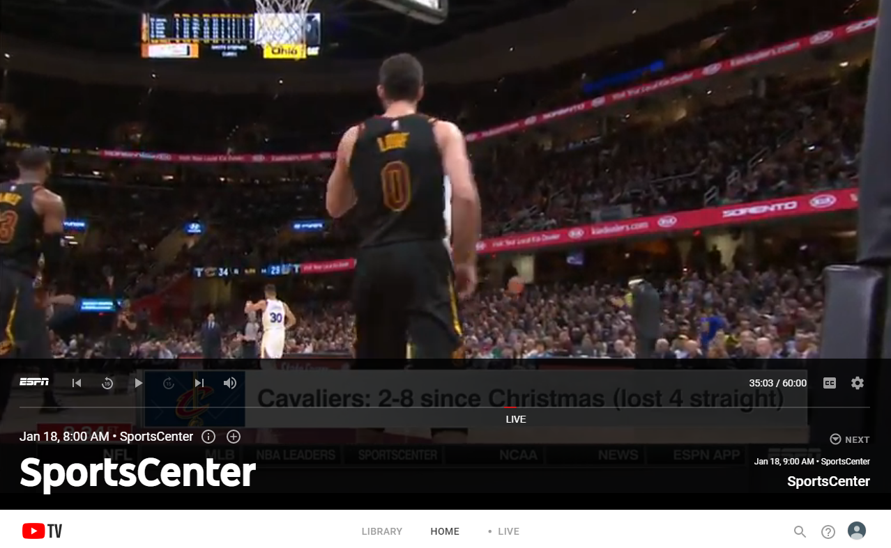 youtube tv sportscenter