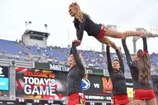Cheerleaders perform during a game
