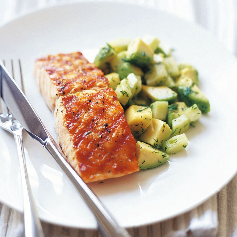 Char-Grilled Salmon With Avocado Cucumber and Dill Salad Recipe-recipe ideas-woman and home