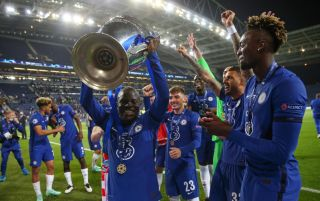 N'Golo Kante lifts the Champions League trophy