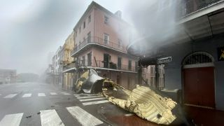 A section of a building's roof is seen after being blown off during rain and winds in the French Quarter of New Orleans, Louisiana on Aug. 29, 2021 during Hurricane Ida.