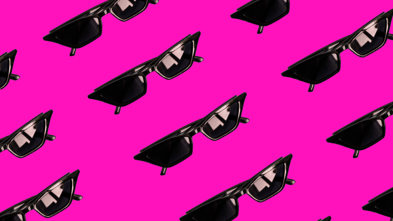 Vibrant pattern of black retro style sunglasses over pink background.