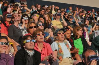 Crowd Observes May 2012 Annular Solar Eclipse