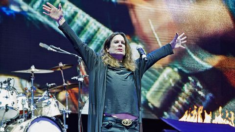 A photograph of Ozzy Osbourne with Black Sabbath at Download Festival, 2016