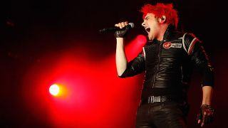 A portrait of Gerard Way on stage in 2011