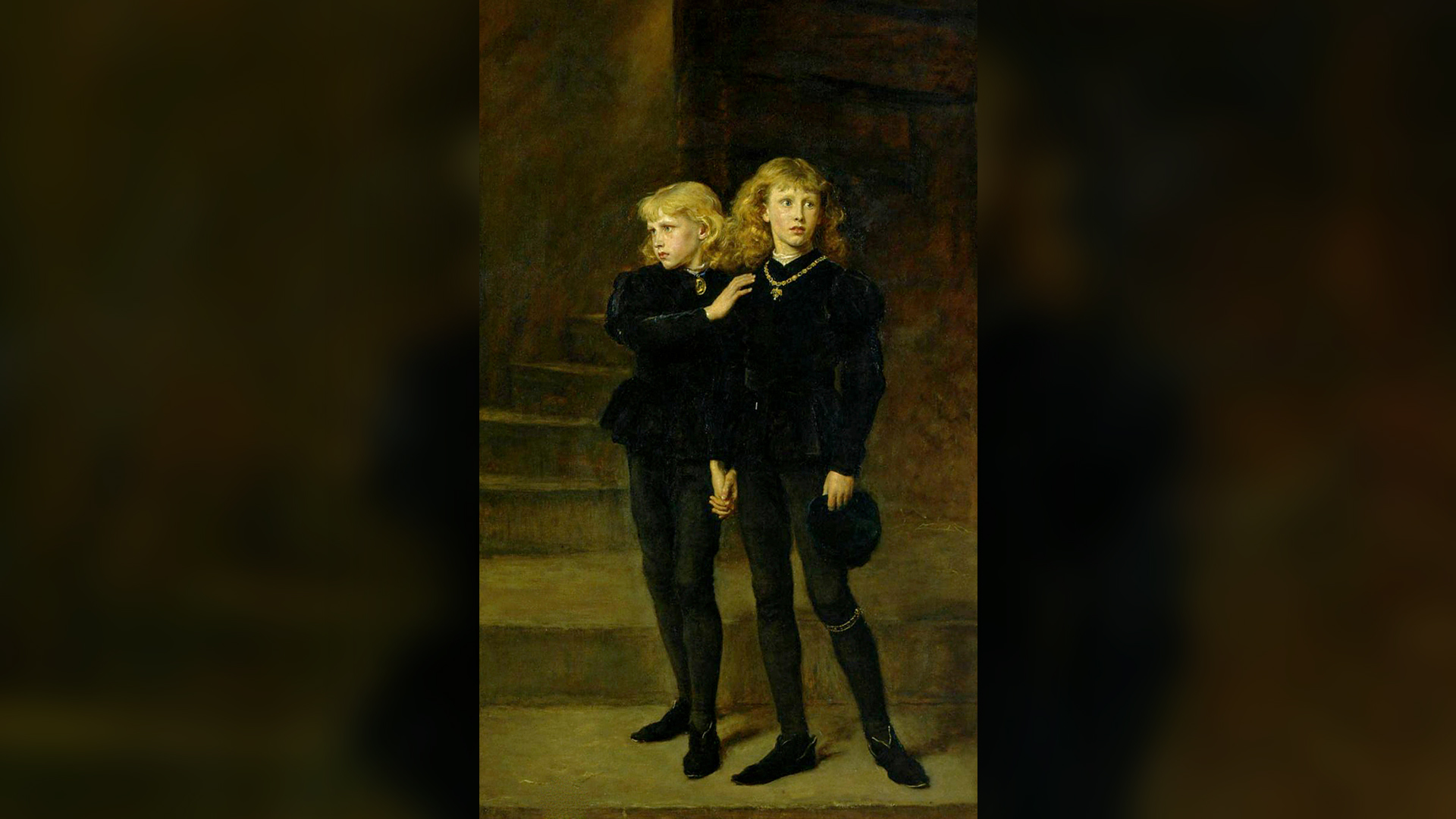 """The Two Princes Edward and Richard in the Tower,"" painted in 1878 by Sir John Everett Millais, now part of the Royal Holloway collection at the University of London. Pictured are Edward V, King of England, and Richard of Shrewsbury, Duke of York, during their imprisonment in 1483."