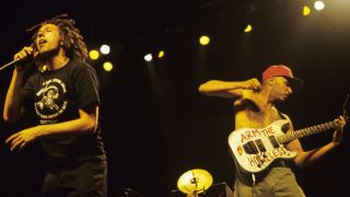 Rage Against the Machine perform in support of the bands' Evil Empire release at San Jose State Event Center on September 3, 1996
