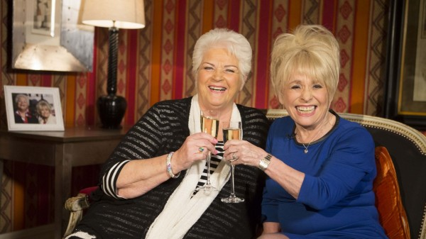 Barbara Windsor and Pam St Clement share a drink