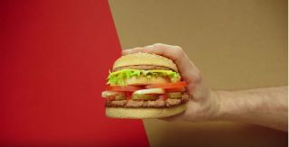 "An image of the ""McWhopper,"" a proposed burger that would combine Burger King's Whopper with McDonald's Big Mac."