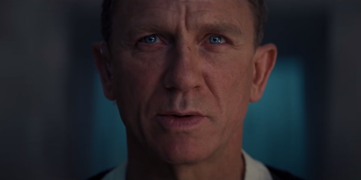 No Time To Die Daniel Craig stares angrily