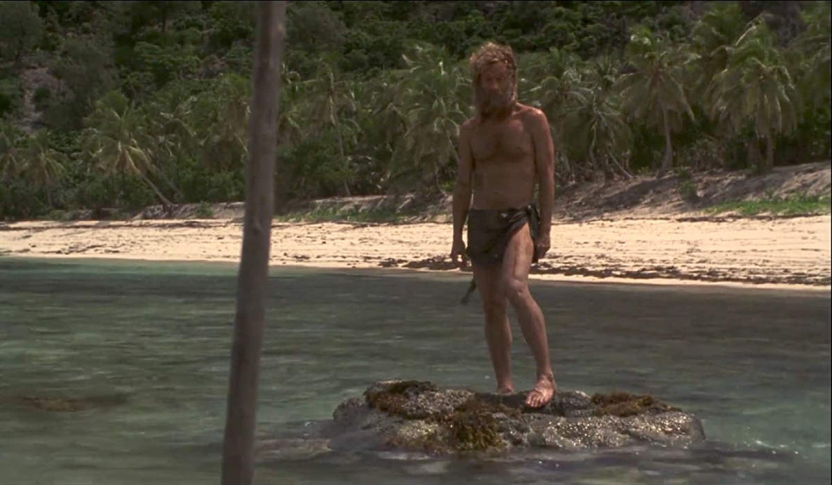 Cast Away Tom Hanks spearing a fish