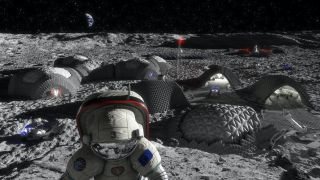 Illustration of a future Moon base by the European Space Agency, which hasn't signed the Artemis Accords.