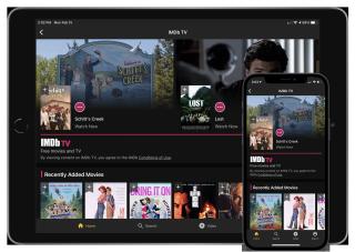 IMDB TV on an iPad and iPhone