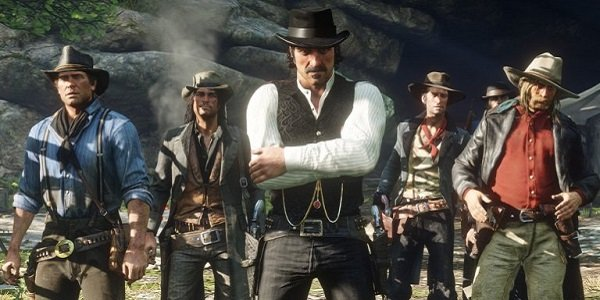 A gang of cowboys in Red Dead Redemption 2.