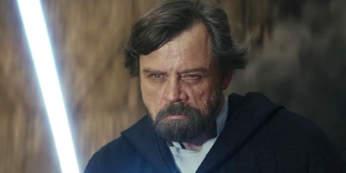 Mark Hamill scowls as Luke in Star Wars: The Last Jedi