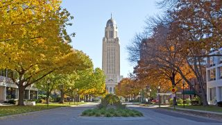 The Nebraska State Capitol Building in downtown Lincoln.