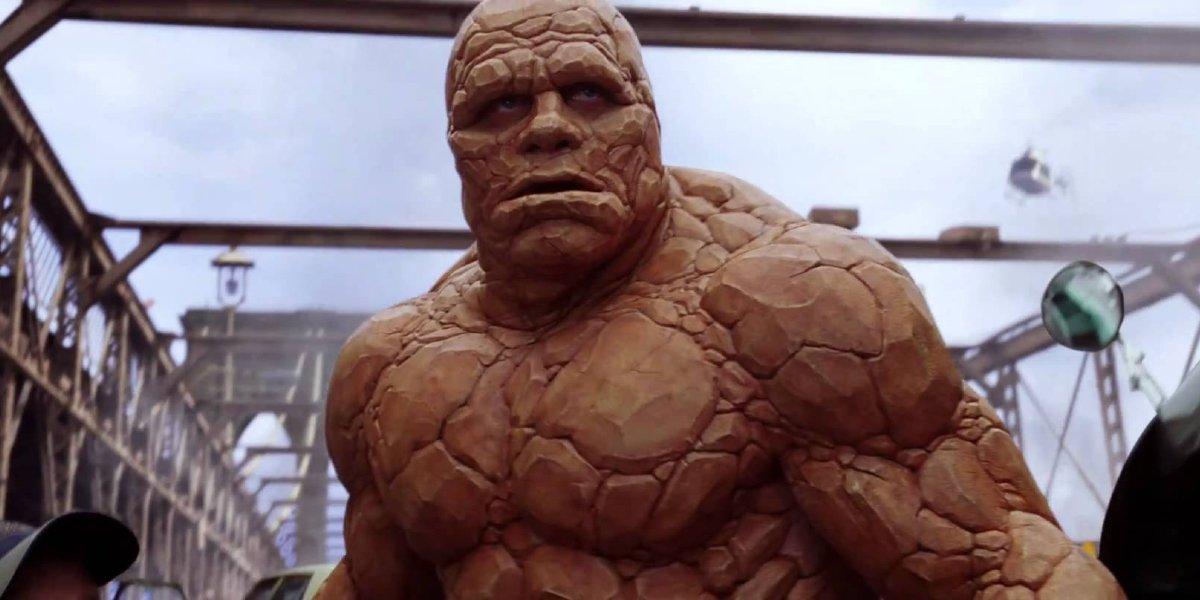 Fantastic Four Michael Chiklis' Thing standing on the bridge