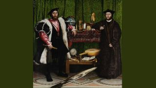 Two men posing in 16th century surroundings