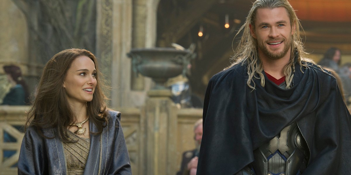 Natalie Portman and Chris Hemsworth as Jane and Thor