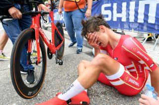 Johan Price-Pejtersen of Denmark shows emotions after winning U23 ITT the UCI Road World Championships