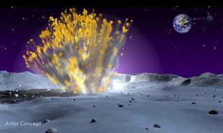 This artist's illustration shows a meteor crashing into the surface of the moon
