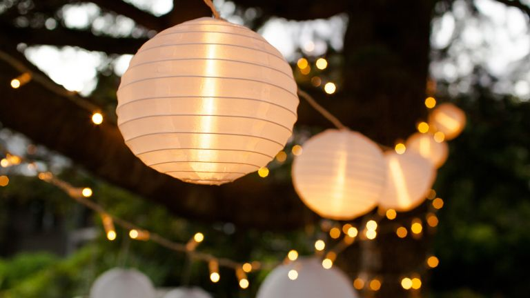 the best garden lighting: paper lanterns and fairylights in garden by lights 4 fun