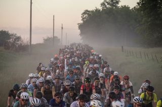 Early miles of the 200-mile event saw the gravel roads packed with riders