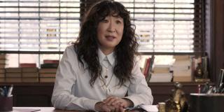 The Chair Sandra Oh Ji-Yoon Kim talks to someone in her office.
