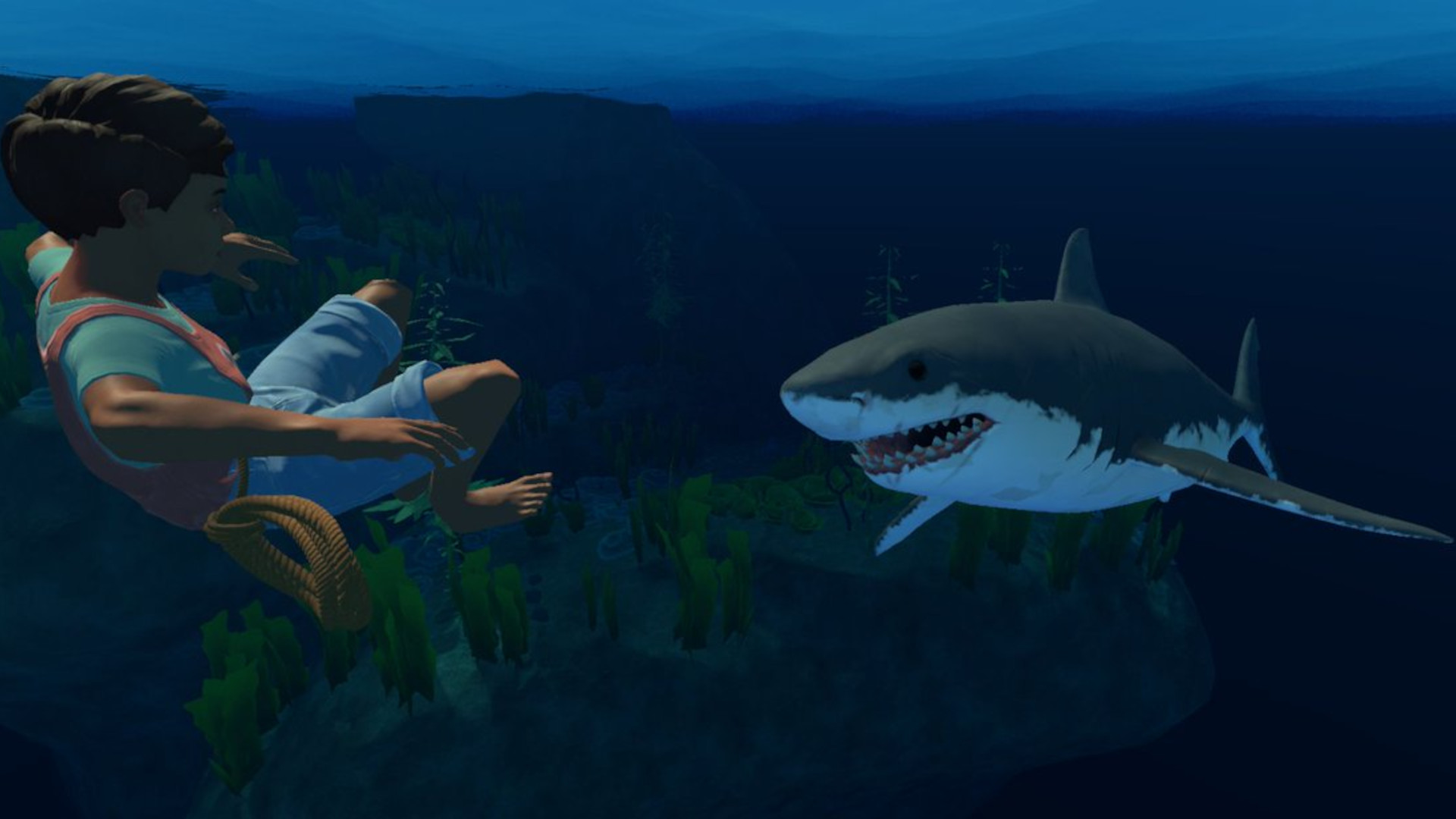 Shark in Raft videogame swimming towards a character