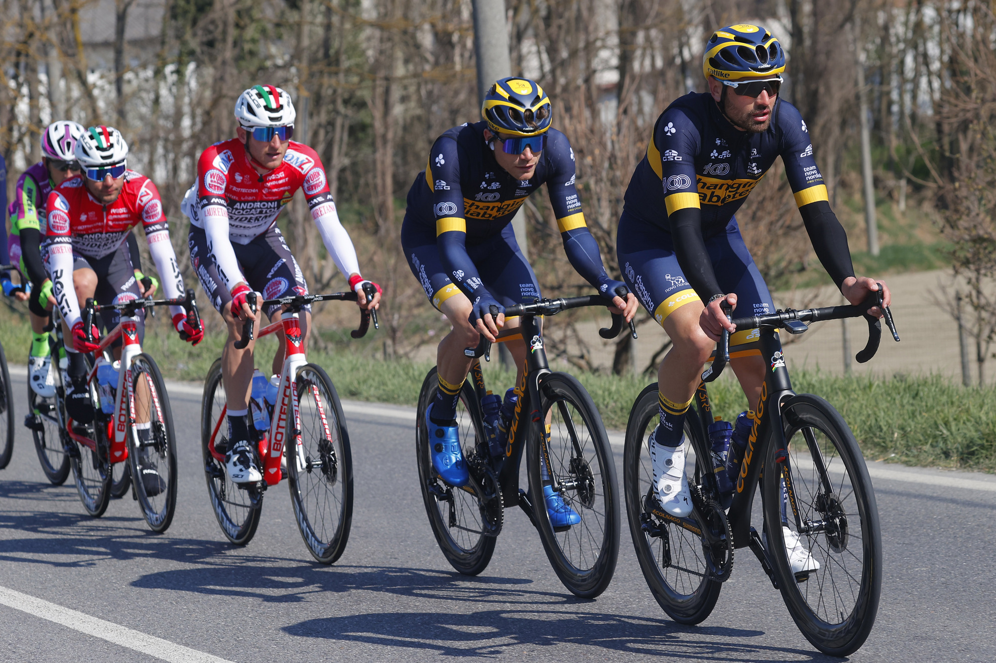 Charles Planet of Novo Nordisk lead the break at Milan-San Remo