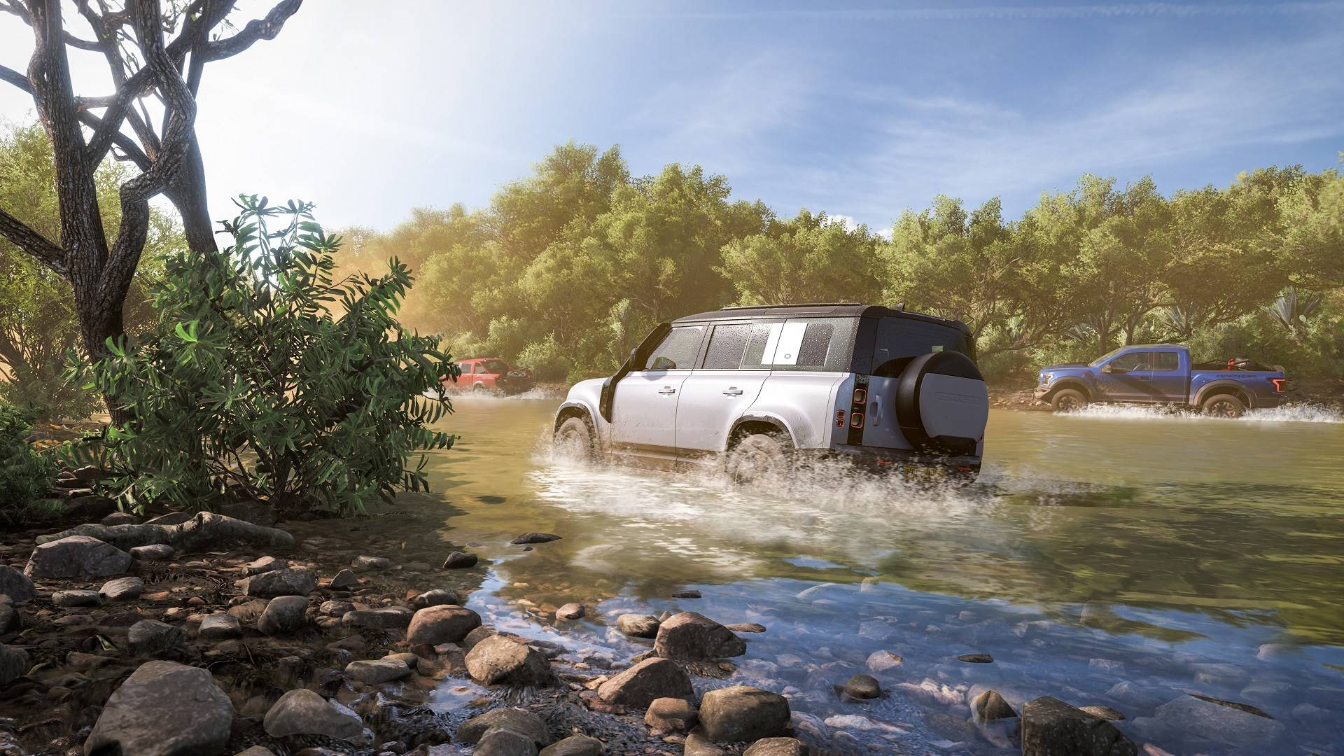 Forza Horizon 5 offroad vehicle driving through a river