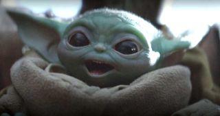 Baby Yoda happy.