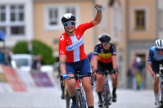 SCHMOLLN GERMANY MAY 25 Emma Norsgaard Jorgensen of Denmark and Movistar Team celebrates at arrival during the 34th Internationale LOTTO Thringen Ladies Tour 2021 Stage 1 a 899km stage from Schmolln to Schmolln ltlt2021 lottothueringenladiestour womencycling on May 25 2021 in Schmolln Germany Photo by Luc ClaessenGetty Images