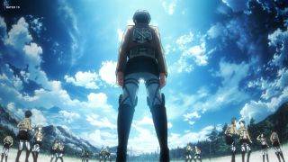 Attack on Titan characters against sky background