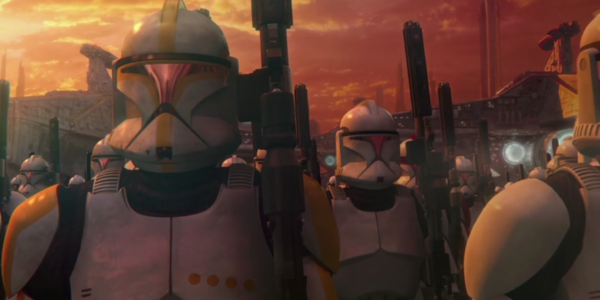 The Clone Troopers line up in Star Wars: Attack of the Clones