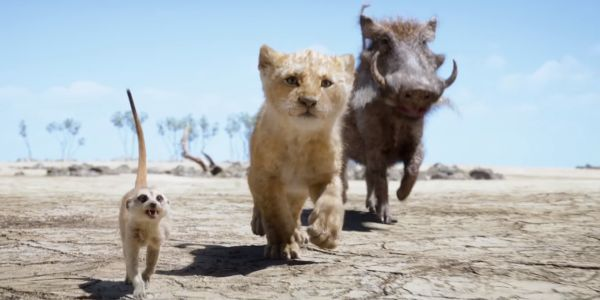 Timon, Simba, and Pumbaa in the Lion King remake