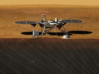 Artist's concept for NASA's InSight mission to probe interior of Mars.