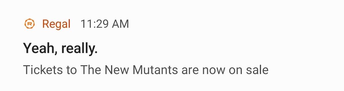 New Mutants Regal Cinemas screenshot