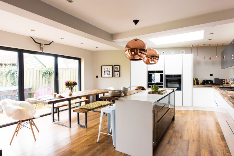 Garage conversions: a garage converted into an open plan kitchen diner