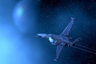 3D illustration of a space warplane and planet earth.