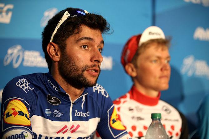 Stage 7 winner Fernando Gaviria (Quick Step) and mountains jersey winner Toms Skujins (Trek Segafredo) at the 2018 Tour of California post-race press conference