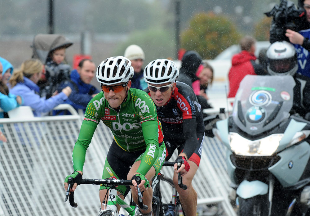 Hampton and Ghyllebert in break, Tour of Britain 2011, stage one