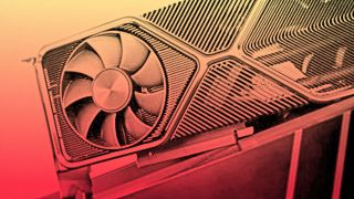 A Graphics card with red and yellow gradient overlay