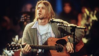 Cobain with the Martin D-18E guitar