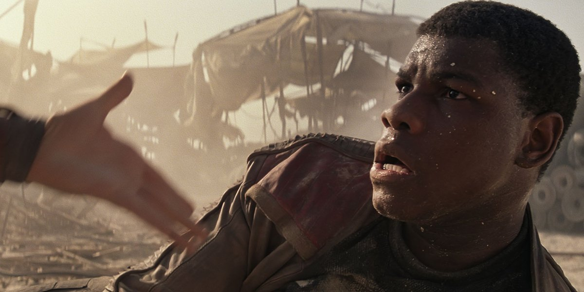 Star Wars: The Force Awakens John Boyega being offered a hand